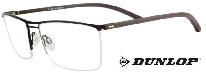 Dunlop D152-1 Dark Brown Semi-Rimmed Glasses