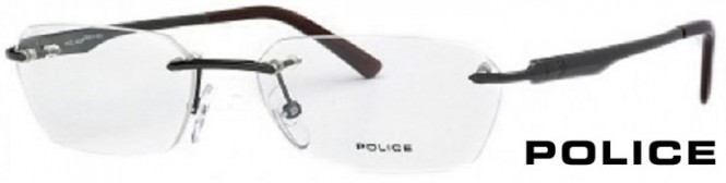 Police V8483 Black Rimless Glasses